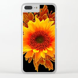 Decor Black & Brown Golden Sunflower Art Clear iPhone Case