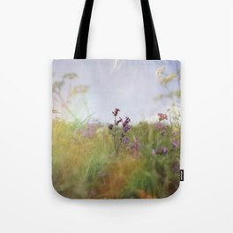 English Countryside Meadow and Rainbow Tote Bag