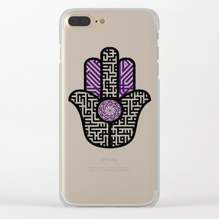 hamsa calligraphy Clear iPhone Case