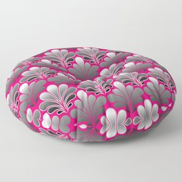 Art Deco Shell Pattern, Silver Gray and Fuchsia Pink Floor Pillow