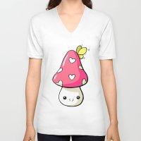 mushroom V-neck T-shirts featuring Mushroom by Freeminds