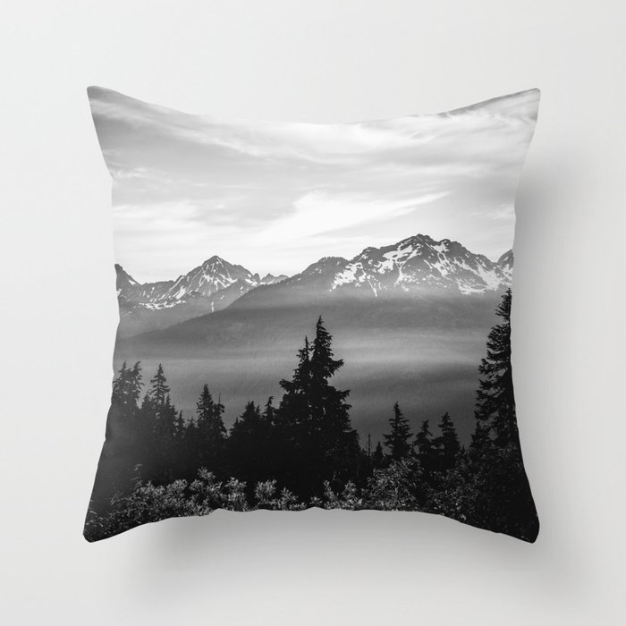 Morning in the Mountains Black and White Throw Pillow