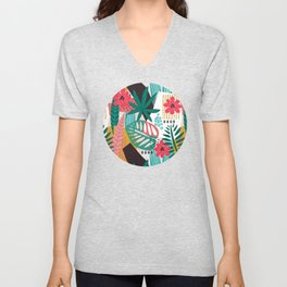 Matisse Inspired Pop Art Tropical Fun Jungle Pattern Unisex V-Neck