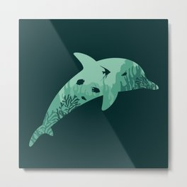 Dolphin coral silhouette Metal Print