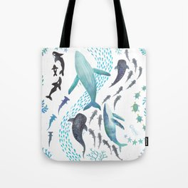 Sharks, Humpback Whales, Orcas & Turtles Ocean Play Print Tote Bag