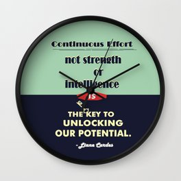 Intelligence is the key to unlocking our potential Inspirational Quote Wall Clock