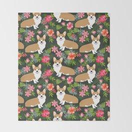 Welsh Corgi hawaiian print pattern florals tropical summer dog breed pet portrait Throw Blanket