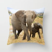 elephants Throw Pillows featuring Elephants by go.designg