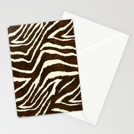 ANIMAL PRINT ZEBRA IN WINTER 2 BROWN AND BEIGE Stationery Cards