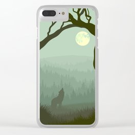 wolf forest Clear iPhone Case
