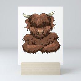 Bodybuilder Highland Cow Strongman Heilan Cattle Mini Art Print