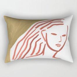 Leaves in hand (minimal portrait lady) Rectangular Pillow