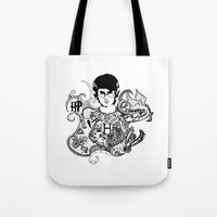 harry potter Tote Bags featuring Harry Potter by Ink Tales
