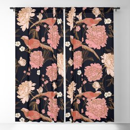 Two Pretty Birds | Chinese Oriental Design | Pink Floral Wildlife |  Blackout Curtain