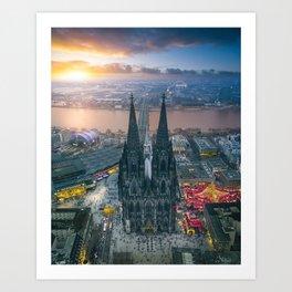 Sunset at the Rhine Art Print