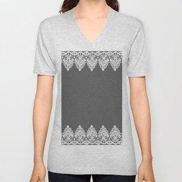 White Vintage Lace Gray Background Unisex V-Neck