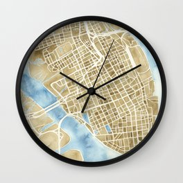 Charleston, South Carolina City Map Art Print Wall Clock