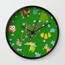 Marry christmas pattern green Wall Clock