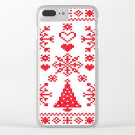 Christmas Cross Stitch Embroidery Sampler Red And White Clear iPhone Case