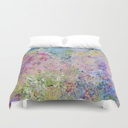 Spring Hydrangeas, Pastel Abstract, Modern Painting Duvet Cover