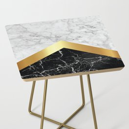Arrows - White Marble, Gold & Black Granite #147 Side Table