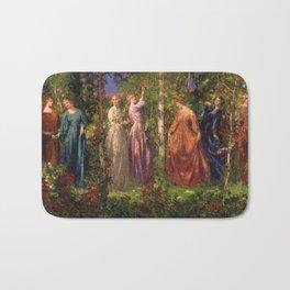 Rose Garden Tapestry Gather Ye Rosebuds While Ye May by Thomas Edwin Mostyn Bath Mat