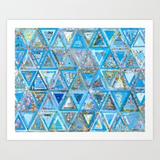 Blue Triangle Map Collage Art Print