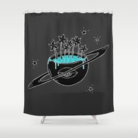 saturn Shower Curtains featuring Saturn by shoooes