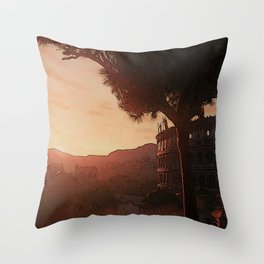 Sunset on ancient Rome Throw Pillow