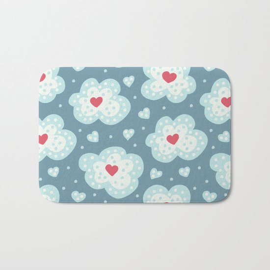 Winter Hearts And Snowy Clouds Bath Mat