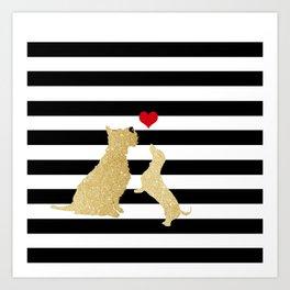 Schnauzer Dog and Dachshund Dog Art Print