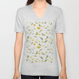 Tropical yellow green watercolor modern leaves floral Unisex V-Neck