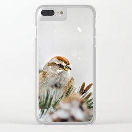 Snowy Sparrow Clear iPhone Case