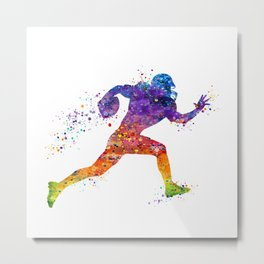 American Football Player Sports Art Colorful Watercolor Art Gift Football Player Gift Sports Decor Metal Print