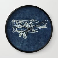 plane Wall Clocks featuring Plane by Mr and Mrs Quirynen