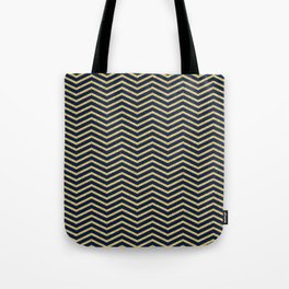 Gold And Navy Zig Zags Tote Bag