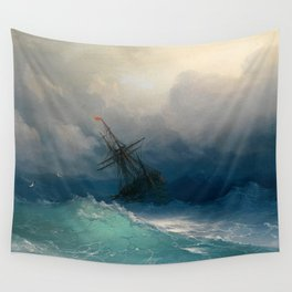 Ship on Stormy Seas, Seascape, Fine Art Print Wall Tapestry