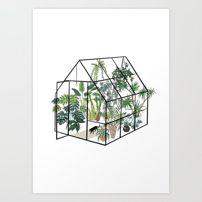 greenhouse with plants Kunstdrucke