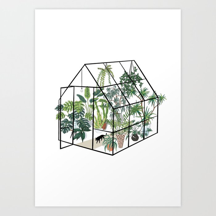 greenhouse with plants Kunstdrucke