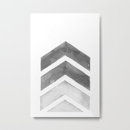 Grey Watercolor Chevron Art Metal Print