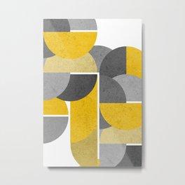 Modern Yellow And Gray Geometric 3 Metal Print