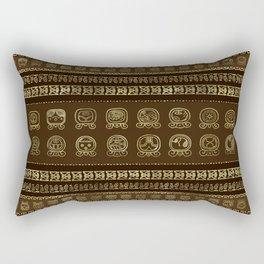 Maya Calendar Glyphs Gold on brown Rectangular Pillow