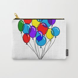 A Bouquet of Multi-Colored Balloons tied in a Bow Carry-All Pouch