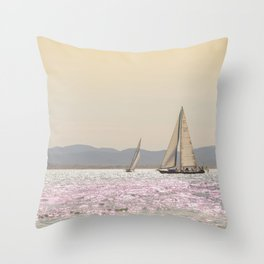 Travel Photography, Sunny Day at Sea, Nautical Art Print, Ocean, Sailboat, Waves, Sailing, Water, Summer Vibes, Nature, Seascape, Landscape, Wanderlust, Adventure, Europe Photo Print Throw Pillow