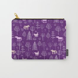 Modern hand painted violet pink white forest trees animals pattern Carry-All Pouch
