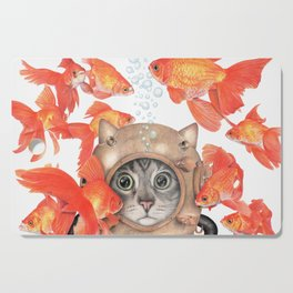 Scuba Cat Among the Fishes Cutting Board