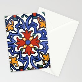 Talavera Mexican tile inspired bold design in blue, green, red, orange Stationery Cards
