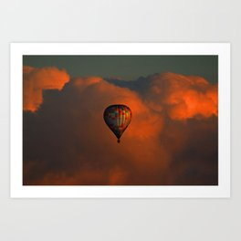 Balloon flight at sunset Art Print