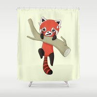 red panda Shower Curtains featuring Red Panda by Freeminds