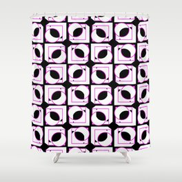 Tubes in Cubes Pink on Black Shower Curtain